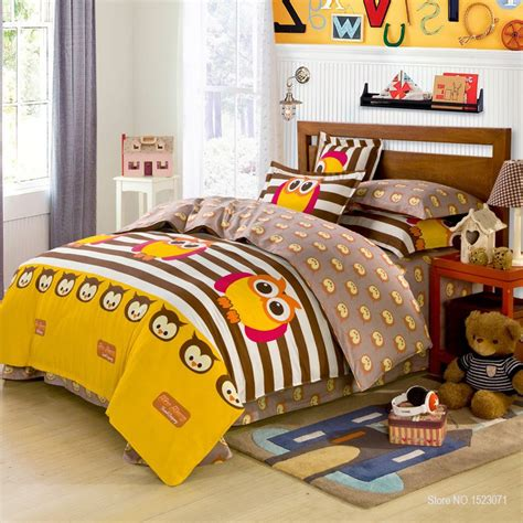 3 4pcs 100 cotton owl girls boys bedding set stripe point
