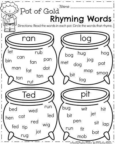 printable worksheets on rhyming words march kindergarten worksheets kindergarten worksheets