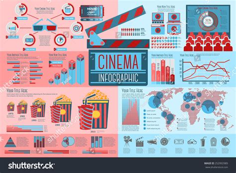cineplex rates set of cinema infographic elements with icons different