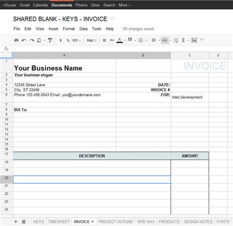 docs spreadsheet template docs invoice template printable invoice template