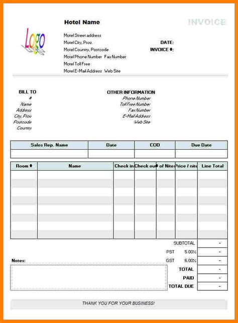 Hotel Receipt Template Word by 5 Hotel Bill Format In Word Sle Travel Bill