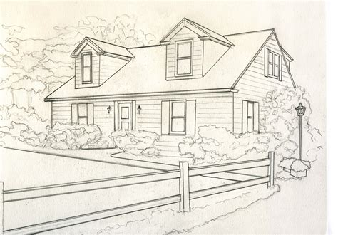 draw house house for catelog drawing b greyscale small kathleen kelley