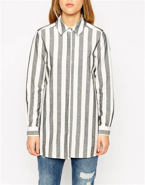 Grey Lace Up Blouse Le Rosetz lyst asos black and white stripe boyfriend shirt in gray