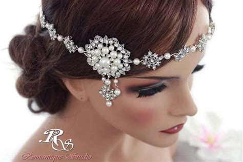 vintage wedding hairstyles with a headband wedding headband bridal headband vintage deco