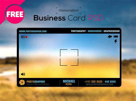 Clear Business Card Template by Free Psd Photographer Transparent Business Card By
