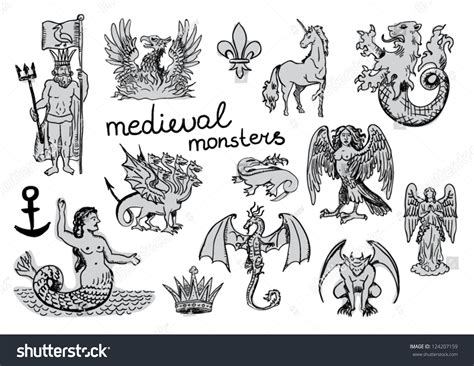 medieval monsters medieval monsters stock vector 124207159 shutterstock
