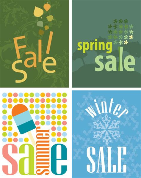 illustrator templates for posters free vectors four seasons sale announcement posters