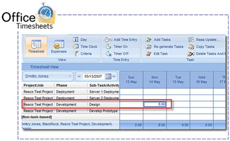Project time tracking for Microsoft Project with Office