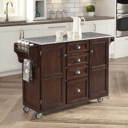 Walmart Kitchen Cart Granite by Home Styles Country Comfort Kitchen Cart With Grey Granite