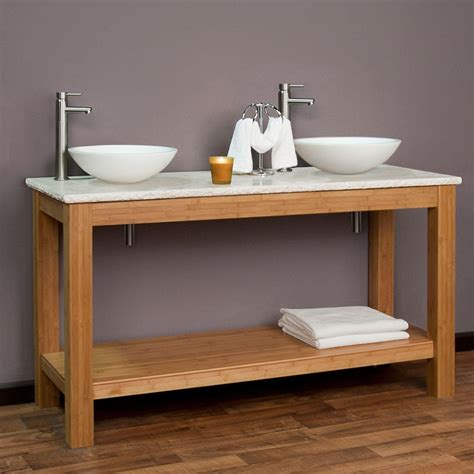 60 quot michele bamboo double vessel sink console vanity