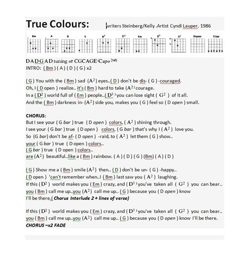 true colors cyndi lauper lyrics true colors chords and lyrics