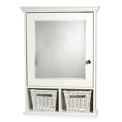bed bath and beyond medicine cabinet zenith wood medicine cabinet with wicker baskets in white