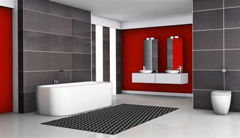 D 233 coration salle de bain rouge et gris