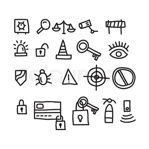 doodle surveillance security doodles icon vector illustration stock vector