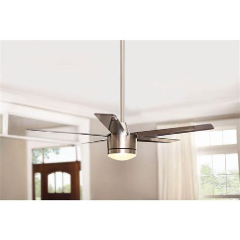 led ceiling fan with remote merwry 52 in led indoor brushed nickel ceiling fan with