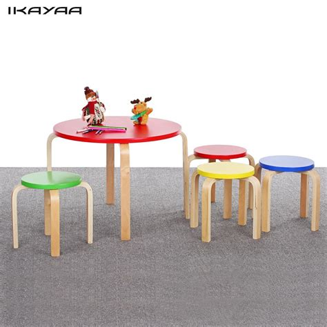 kids table and bench set ikayaa fr us de stock solid wood round kids table and 4