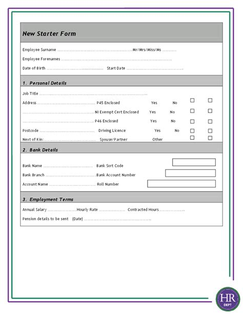 employee starter form template new starter form hashdoc