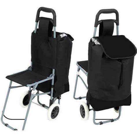 Shopping For Chairs by Maxam Trolley Shopping Bag With Folding Chair Metals