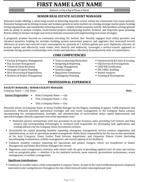 Resume Real Estate Development Manager senior account manager resume sle template