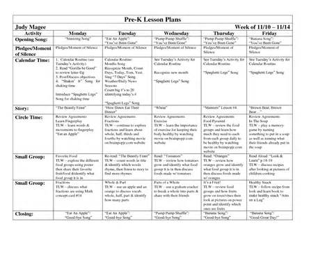 Lesson Plan Template For Pre K 8 best images of pre k lesson plan exles pre k lesson