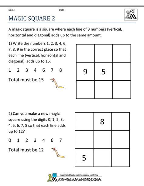 Magic Square Worksheet by Math Puzzles Magic Square School Worksheets