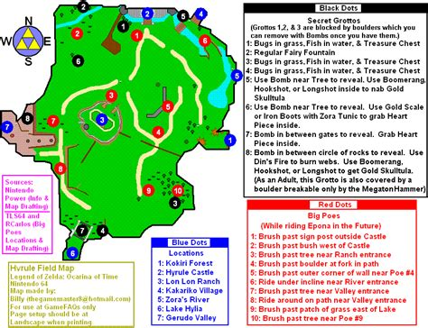 Secrets Of Time the legend of ocarina of time hyrule field map for