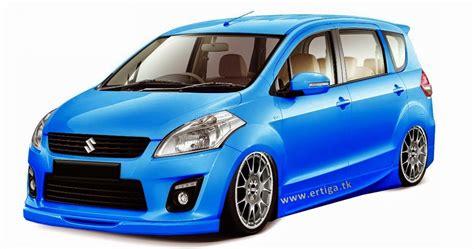 foto gambar modifikasi mobil ertiga terbaru warna biru laut ceper elegan seribu mobil baru