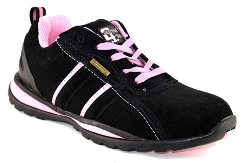 womens leather suede safety lace up trainers work