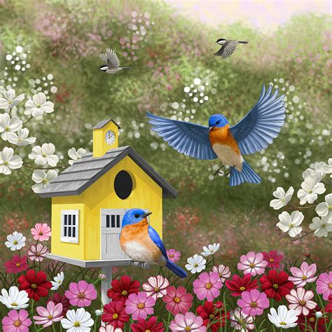 bluebirds and yellow birdhouse painting by crista forest