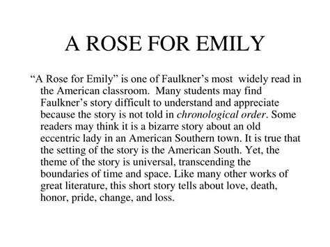themes of the story a rose for emily ppt a rose for emily powerpoint presentation id 457242