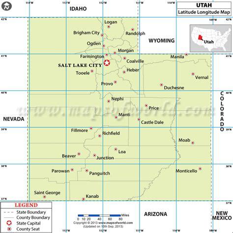 latitude longitude map usa utah latitude and longitude map