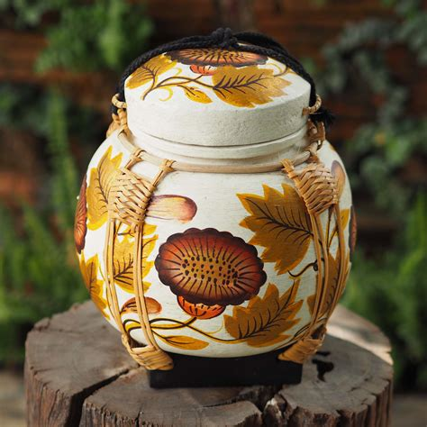 Sticky Traditional Handmade - sunflower painted asian sticky rice basket siam sawadee