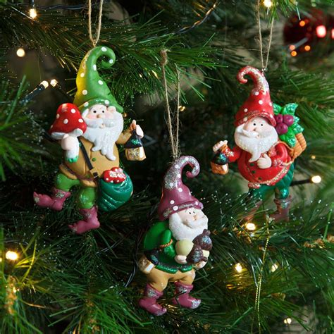set of 3 christmas garden gnome claydough tree decorations