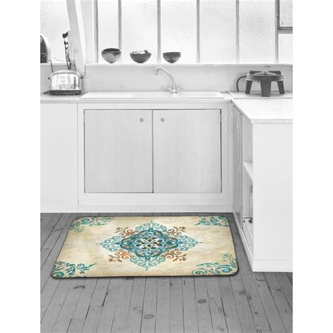 anti fatigue mat kitchen home dynamix designer chef blue arabesque 24 in x 36 in anti fatigue kitchen mat 4 dc14 the