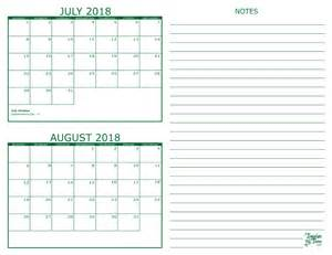 Calendar 2018 June July August 2 Month Calendar 2018