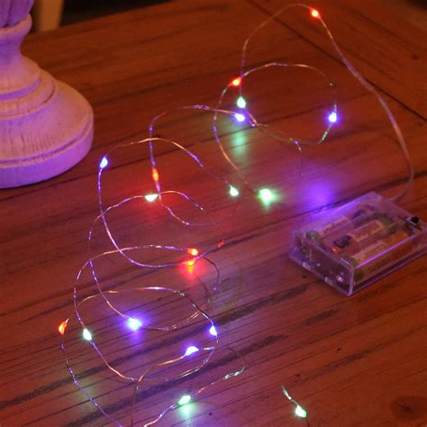 20 micro led battery operated lights silver wire