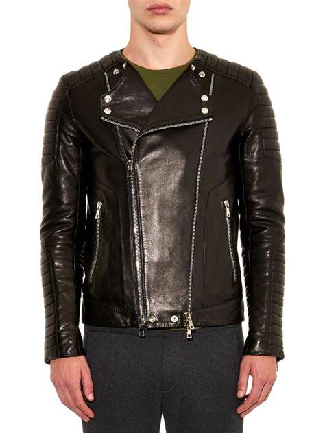 Balmainleather Biker Jacket balmain classic leather biker jacket in black for lyst