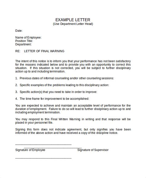 Acknowledgement Warning Letter Warning Letter Template 9 Free Word Pdf Document Downloads Free Premium Templates