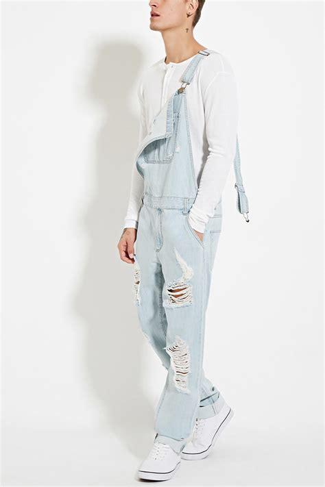 light blue overalls mens forever 21 distressed denim overalls in blue for lyst