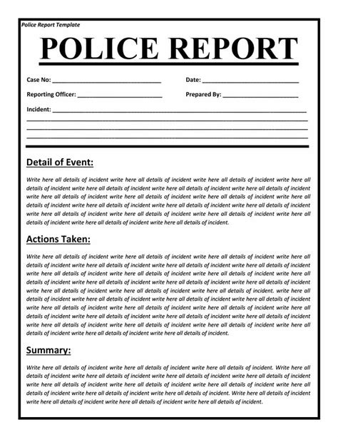 Burglary Report Template