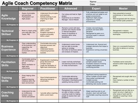 Skill Matrix Template Free Download Aashe Agile Assessment Template