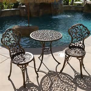Bistro Style Patio Furniture by Outdoor Patio Furniture Tulip Design Cast Aluminum Bistro