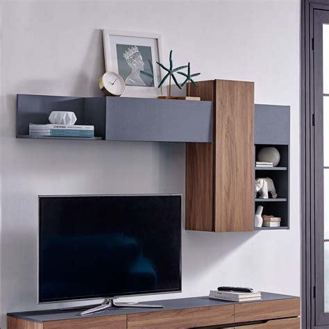 scope wall mounted shelves walnut gray