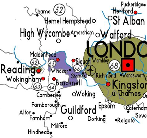 Map of Windsor and Maidenhead in England Useful information about Windsor and Maidenhead