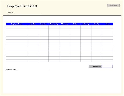 free templates timesheet template free printable listmachinepro