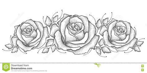 vector illustration with three dotted rose flower and