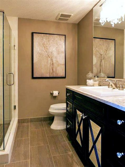 neutral bathroom with black vanity hgtv