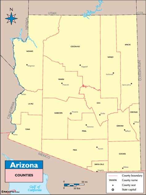 arizona county map arizona counties and county seats map by maps from maps world s largest map store