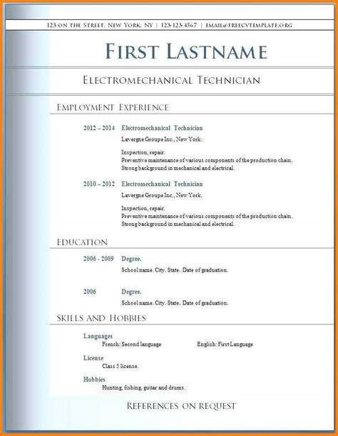 Free Resume Templates 2015 Word