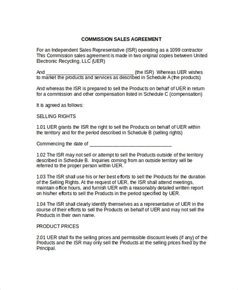 sales commision agreement template 9 commission sales agreement templates sle templates